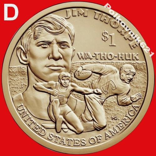 """США, 1 доллар 2018 года, """"Джим Торп"""", двор """"D"""" (T9563)"""