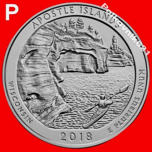 "США, 25 центов, квотер 2018 года, 42 парк, ""APOSTLE ISLANDS"", двор ""P"" (A3901)"