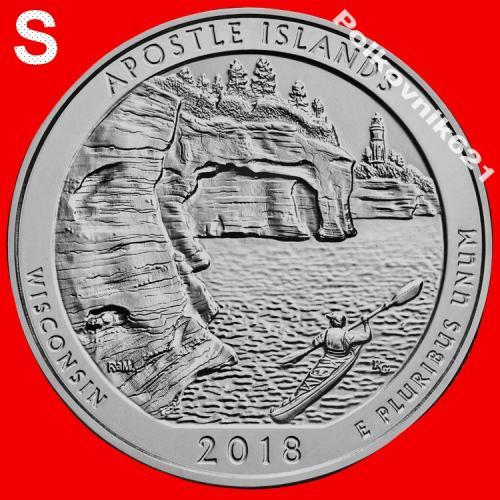 "США, 25 центов, квотер 2018 года, 42 парк, ""APOSTLE ISLANDS"", двор ""S"" (A3551)"