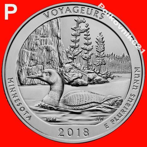 """США, 25 центов, квотер 2018 года, 43 парк """"VOYAGEURS"""", двор """"P"""" (V3751)"""