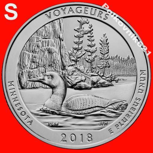 """США, 25 центов, квотер 2018 года, 43 парк """"VOYAGEURS"""", двор S (V3881)"""
