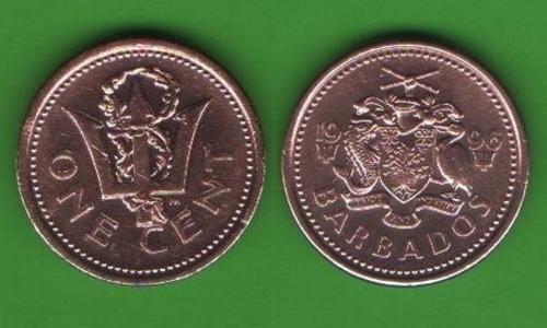 1 цент Барбадос 1996