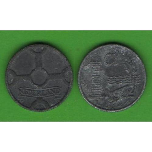 1 цент Нидерланды 1942 (цинк)