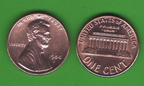 1 цент США 1984 D