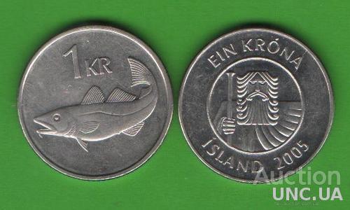 1 крона Исландия 2005