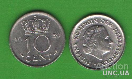 10 центов Нидерланды 1959