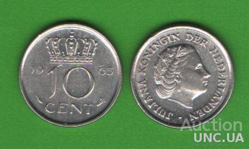 10 центов Нидерланды 1963