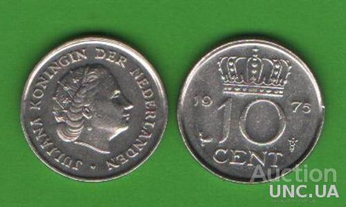 10 центов Нидерланды 1975