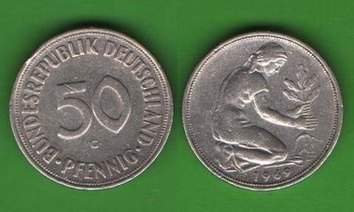 50 пфеннигов Германия 1969 G