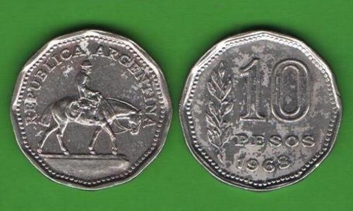 10 песо Аргентина 1968