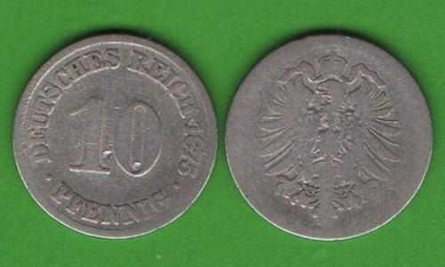 10 пфеннигов Германия 1875