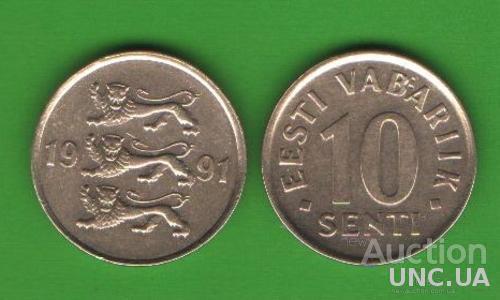 10 сентов Эстония 1991