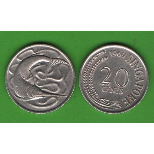 20 центов Сингапур 1969