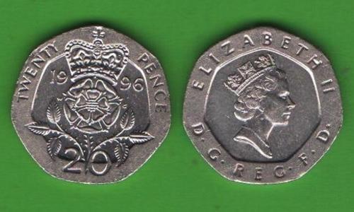 20 пенсов Великобритания 1996