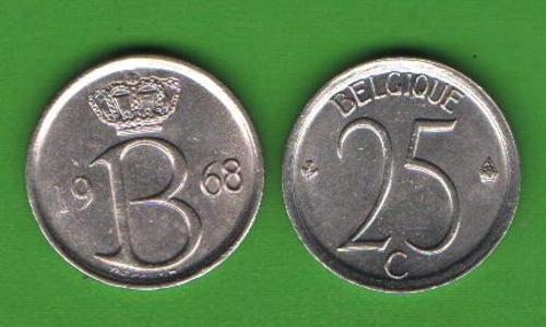 25 сентим Бельгия 1968 (BELGIQUE)