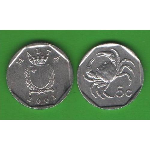 5 центов Мальта 2001