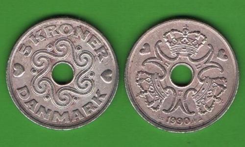 5 крон Дания 1990