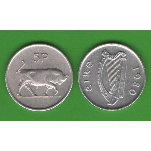 5 пенсов Ирландия 1980