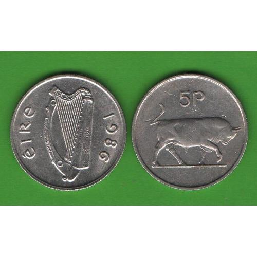5 пенсов Ирландия 1986