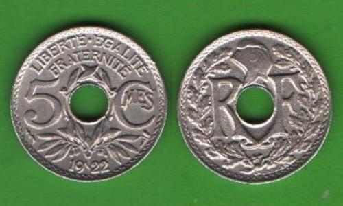5 сентим Франция 1922