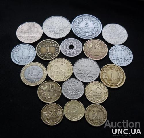 Монеты Франции 1920-1988