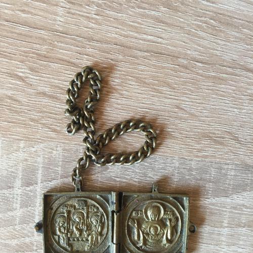 Старинная икона / кулон-книжечка из бронзы
