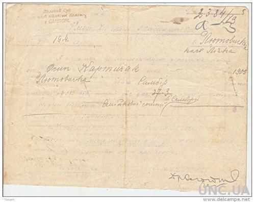 Документ 1919 19.4 Западная Украина. Полевая почта. Документ отправлен из полевого суда в Самбире в команду жандармерии в Лутовицком.