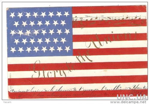 Флаг США и гимн.