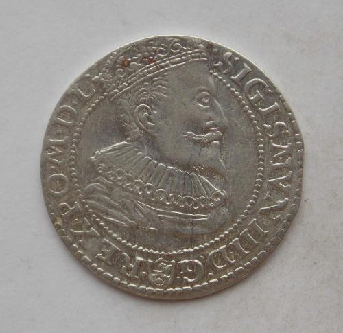 Шостак (6 грош) 1596 року, м. Мальборк. Сігізмунд III Ваза. R1. Срібло, гарний стан.