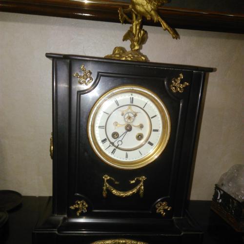Каминные часы, Германия 1890-1900 гг., бронза, черный мрамор, оригинал