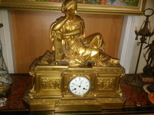 Каминные часы с боем, Франция, 1870-1880 гг., большая редкость!!!,бронза с позолотой, оригинал