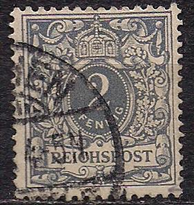 """Рейх, 1889 г., стандартный выпуск """"Krone/Adler"""", марка № 52"""