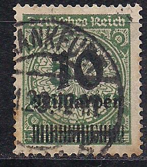Рейх, 1923 г., стандартный выпуск, цифры в круге с над печаткой, марка № 336 А