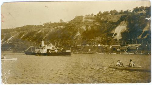 Киев Фото Река Днепр Пароход Пристань Лодка 1920-е годы Украина