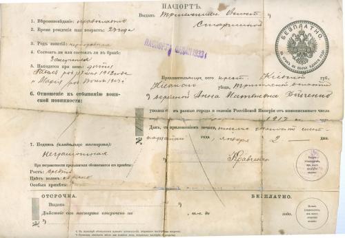 Киев Паспорт 1917 год Лукьяновский полицейский участок Печать акцизного управления Карточка на водку
