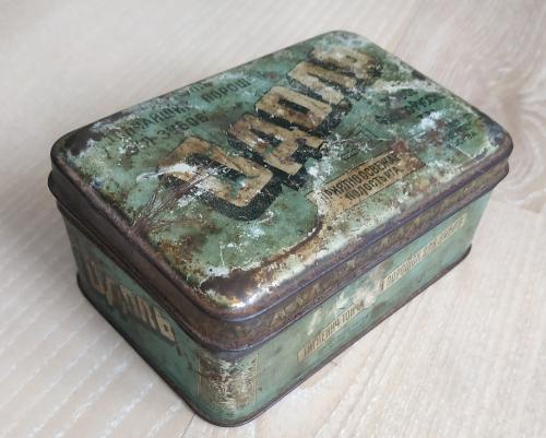 Коробка Зубной порошок Одоль Первое Франко-Русское т-во Вейнберг Москва Парфюмерия Винтаж