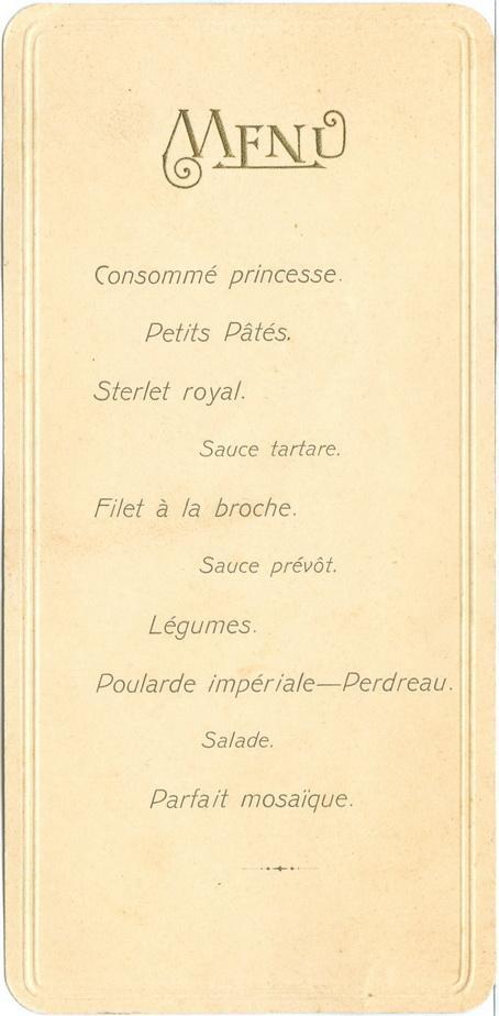 Меню 1912 год Ресторан Кулинария Винтаж Реклама Империя