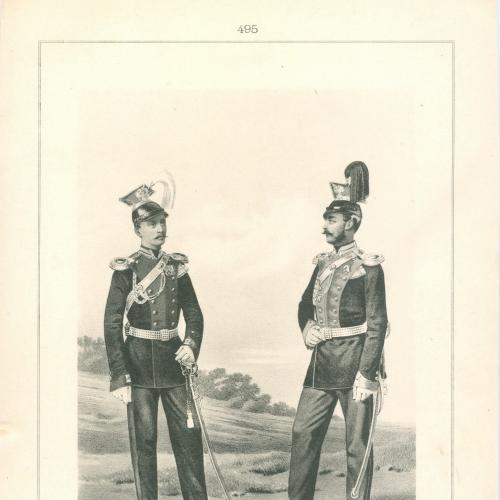 Обер-офицеры Уланских полков Гвардии и Армии Фототипия Голике и Вильбор Военная форма Сабля Оружие