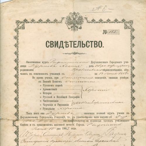 Радомышль Двухклассное Городское училище Свидетельство 1882 год  Типография Крымского Звенигородка