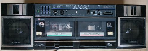 Стерео Магнитофон двухкассетный Сони Радио 1990 Stereo Cassette Corder Sony CFS-W365S Japan Винтаж