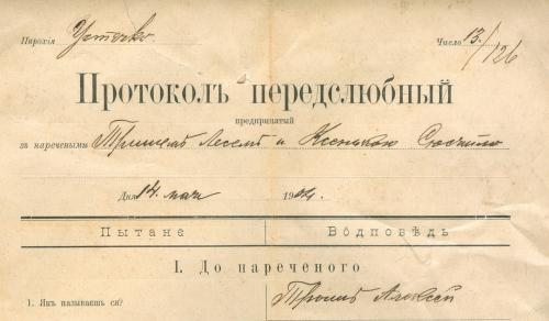Жовква Протокол предслюбный 1904 год Анкета жениха и невесты Тип. Василиян Schowkwa Żоłkiew Нестеров
