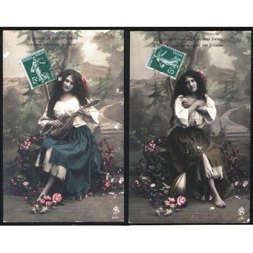 2 открытки - Девушка. Начало 20 века.
