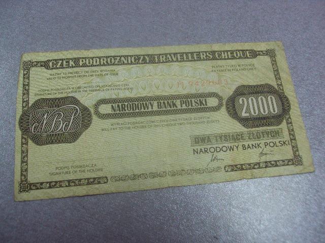 банкнота 2000 злотых 1989 дорожный чек  польша №393