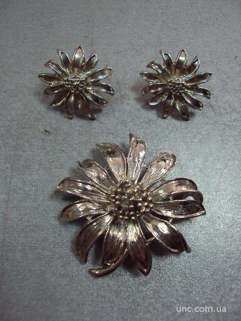 бижутерия набор брошка брошь серьги цветок лилия