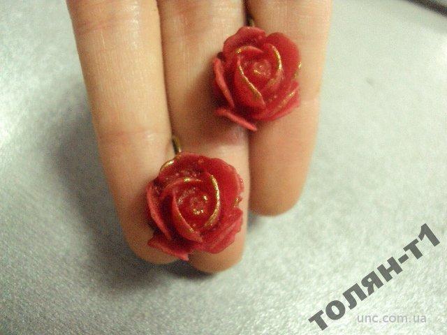 бижутерия серьги розы розочки