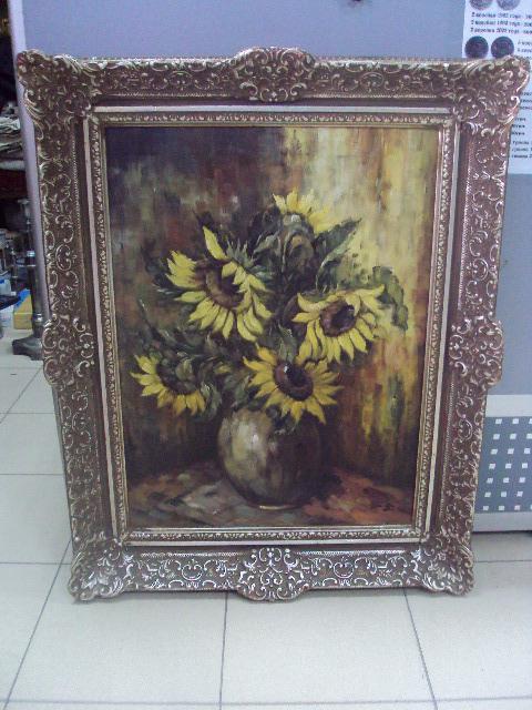 Большая картина Натюрморт Подсолнухи в ажурной раме. масло, холст №160