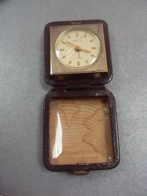 часы будильник дорожный делюкс 7камней Deluxe 7 jewels Genuine Leather германия №3042