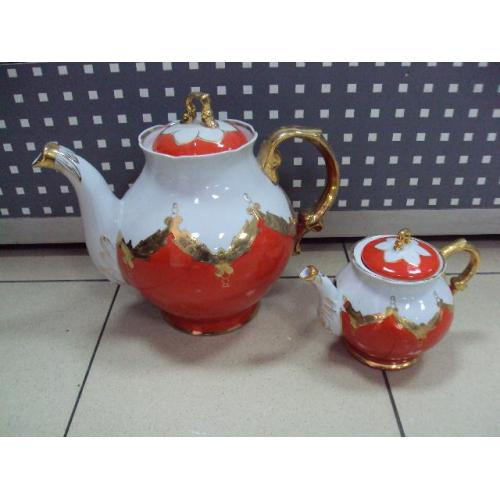 Чайник заварник Барановка фарфор Бутон большой 22,5 см и маленький 14 см лот 2 шт №10588