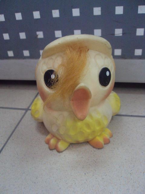 детская игрушка винтаж ссср птичка птенчик птица в кепке резина №3298