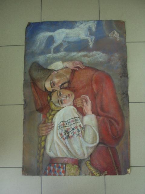 Двухсторонняя картина Козак с девушкой. Поцелуй в стиле Бойчукизма масло, холст 50,5 х 75 см №269